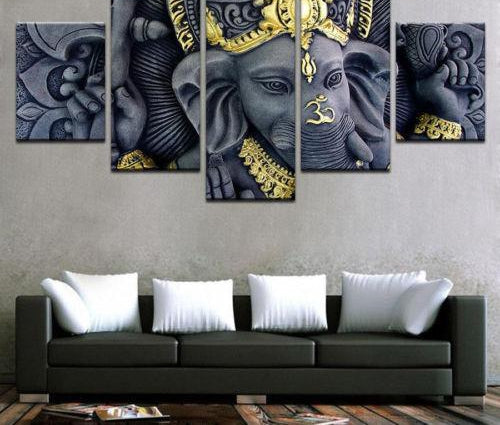Canvas Poster Home Decoration Framed 5 Pieces Ganesh  Painting Wall Art Modular HD Prints O S Pictures For Living Room