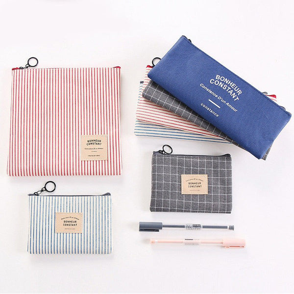 Cute Plaid Canvas Cosmetic Wash Bag Fashion Toiletry Bag Travel Organizer Necessary Beauty Case Makeup Bag Bath Make Up Box