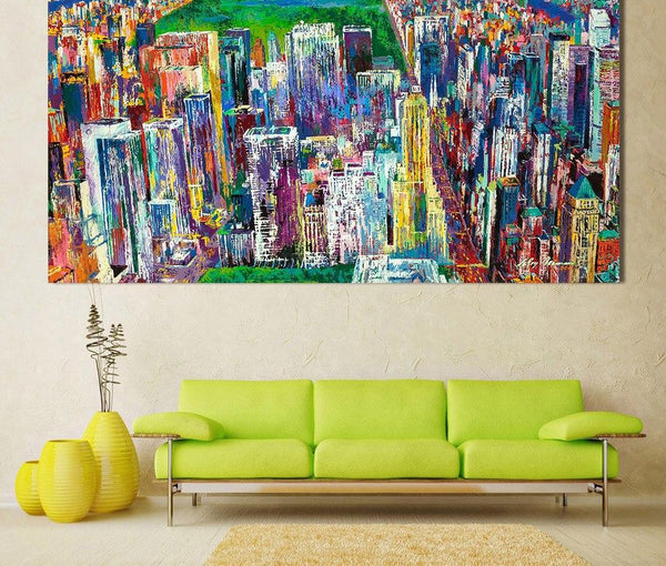 HDARTISAN Landscape Oil Painting Manhattan Panorama Canvas Art Wall Pictures For Living Room Home Decor Printed Frameless