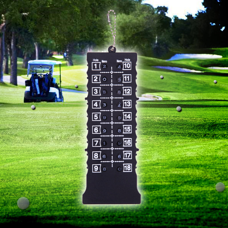 18 Hole Golf Stroke Putt Score Card Counter Golf Score Indicator with Key Chain Environmental Golf Score Counter Black New 2017