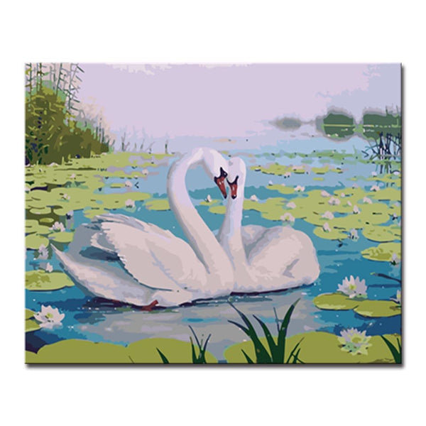 DIY Hand Paint Oil Painting By Numbers Kits Drawing Nestled Swan Canvas Pictures Lover Animal Coloring Bebroom Decor Framework