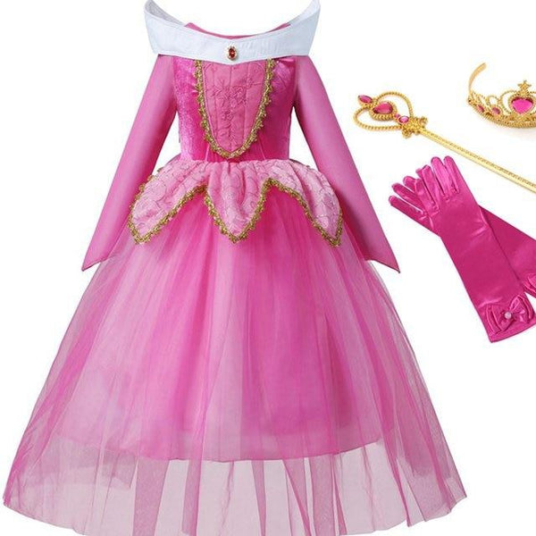 VOGUEON Sleeping Beauty Princess Aurora Dress up Party Costume Long Sleeve 4 Layers Cosplay Long Dress Halloween Birthday Gift