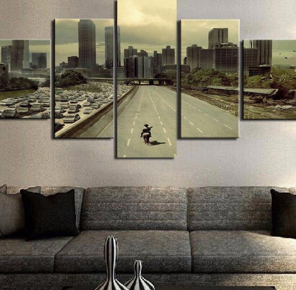 Modular Pictures HD Printed Canvas Frame Painting Home Wall Art Photo  Decor 5 Panels Movie Walking Dead Landscape Poster PENGDA