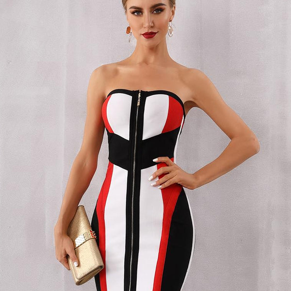Adyce Bodycon Bandage Dress Women Vestidos Verano 2019 New Summer Strapless Midi Club Dress Runway Celebrity Evening Party Dress