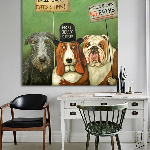 HDARTISAN Wall Art Dogs On Strike Animal Oil Painting Acrylic on Canvas Prints for Living Room Home Decoration No Framed