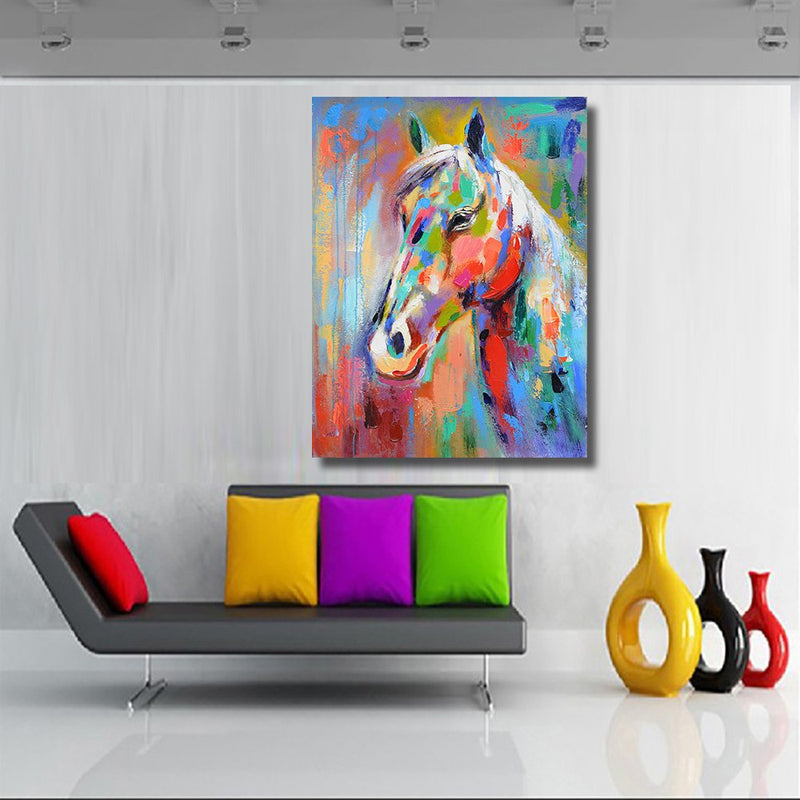HDARTISAN Colorful Horse Picture Canvas Print decoration oil painting picture For Bedroom  Living Room Home Decor