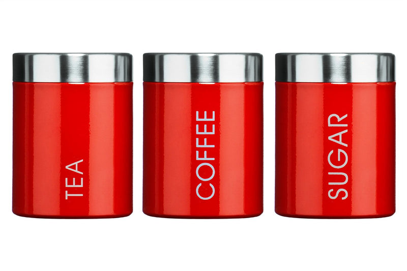 Premier Housewares Liberty Tea, Coffee and Sugar Canisters - Set of 3, Red