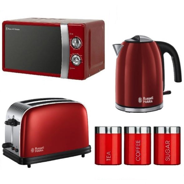 Everything.Bargains Microwave Kettle Toaster Set (+Tea, Coffee and Sugar Canisters) Red, Black, Cream Colour