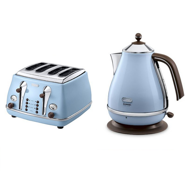 Everything.Bargains Retro DeLonghi Icona Kettle + 4 Slice Toaster Kitchen Appliance Bundle Set