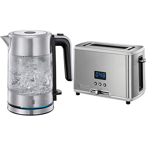 Everything.Bargains Russell Hobbs 0.85L Glass Kettle and 1-Slice Toaster, Stainless Steel Compact Kitchen Set