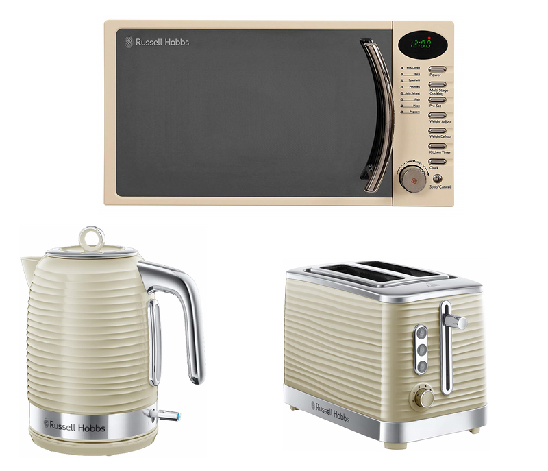 Everything.Bargains Russell Hobbs 17L Microwave, Inspire Kettle and Toaster, Kitchen Set White, Black, Cream Colours Available
