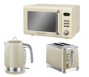 Everything.Bargains Retro Digital 17L Microwave, Kettle and Toaster Kitchen Set Red, Black, Cream Colour