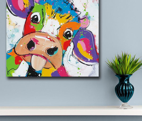 Everything.Bargains Animal Pop Art Cute little Cow Oil Painting Wall Art Paiting Canvas Paints Home Decor Abstract Print Painting Modern