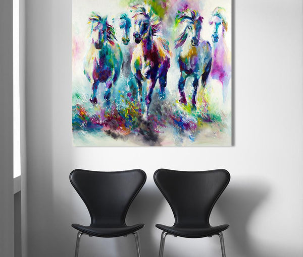 Everything.Bargains The running horses Canvas Material Prints Wall Art Pictures for Living