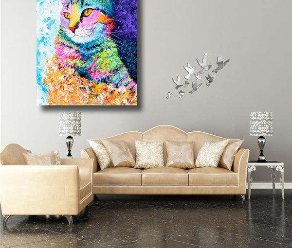 Everything.Bargains HDARTISAN Wall Art Picture the Colorful Cat Oil Painting Canvas for living Room Bedroom Decorative posters and prints