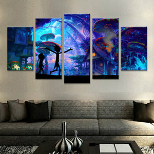 Canvas Wall Art Modular Pictures 5 Panels Rick And Morty Poster Home Decor Animation Posters No