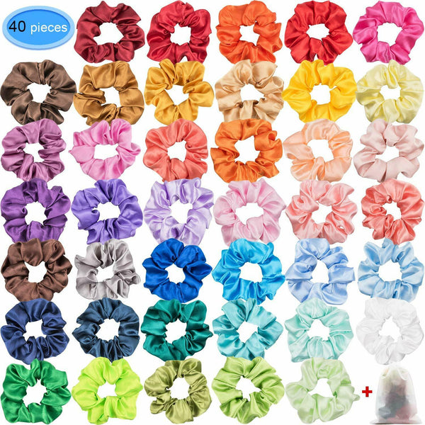 40 Colors Satin Scrunchies For Hair Glossy Scrunchy Ponytail Holder Headbands