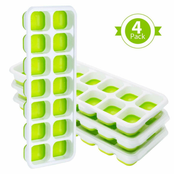 4 Pack Ice Cube Tray Moulds With Non-Spill Lid For Freezer Baby Food Water Green