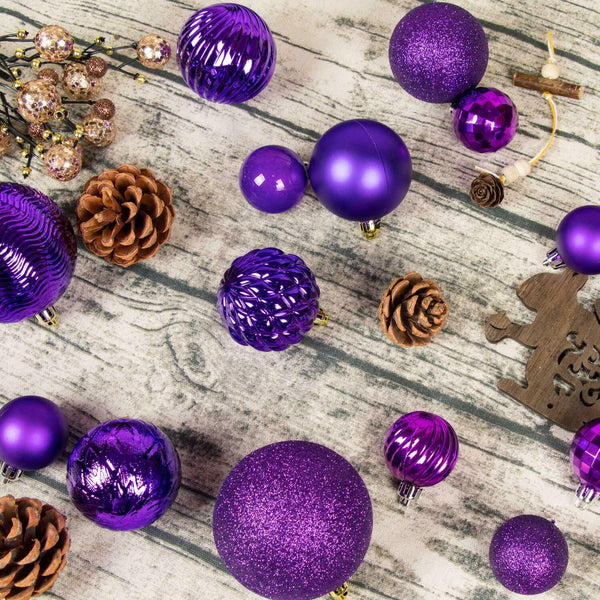 34 Pcs Glitter Christmas Balls Baubles Xmas Tree Hanging Ornament Decoration New