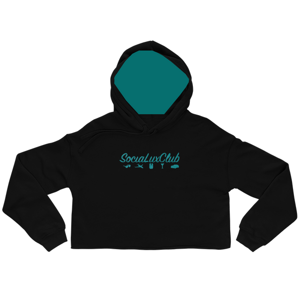 Satin Teal Banner Crop-Top Hoodie