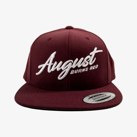 August Burns Red - Script 3D Snapback Hat | Merch Connection - Metal, hardcore, punk, pop punk, rock, indie, and alternative band merchandise