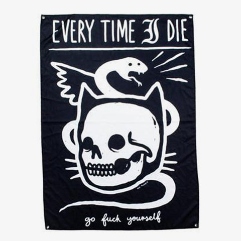 Every Time I Die - Cat Skull Wall Flag