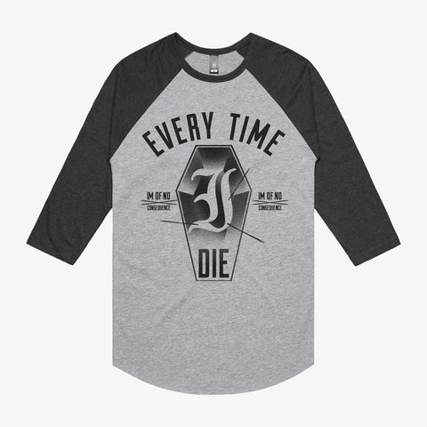 Every Time I Die - Coffin Raglan | Merch Connection - Metal, hardcore, punk, pop punk, rock, indie, and alternative band merchandise