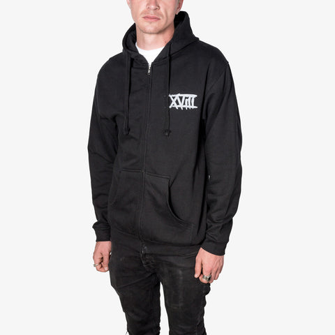Eighteen Visions - XVIII Zip-Up (Silver Ink) | Merch Connection - Metal, hardcore, punk, pop punk, rock, indie, and alternative band merchandise