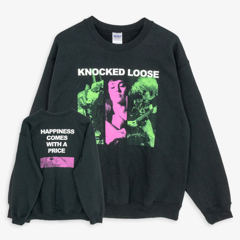 Knocked Loose - Happiness Crewneck | Merch Connection - Metal, hardcore, punk, pop punk, rock, indie, and alternative band merchandise