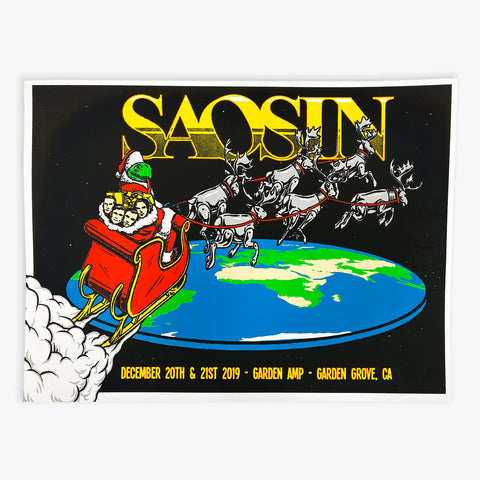 Saosin - Christmas 2019 Screen Printed Poster | Merch Connection - Metal, hardcore, punk, pop punk, rock, indie, and alternative band merchandise