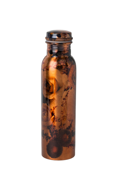 "Coast Copper Pure Copper Printed ""Flower"" Copper Water Bottle, 900ml - Coast Copper"