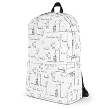 Load image into Gallery viewer, Never Grow Up Stick Figure Backpack