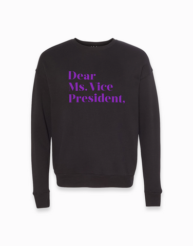 Dear Ms. Vice President Sweatshirt - Black/Neon Purple