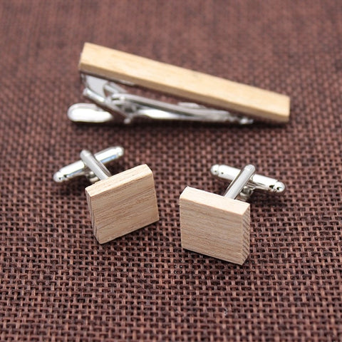 Wooden Cufflinks & Tie Clip Set