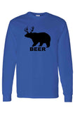 Men's/Unisex Funny Bear? Deer? BEER! Long Sleeve shirt