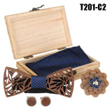 4Pcs Manual Wooden Bow Tie Handkerchief Set