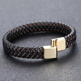 Punk Braided Leather Wristband