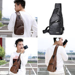 USB charging chest bag- Pu Leather