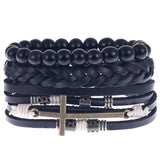 3pcs/set Fashion Mens Punk Leather Wrap Braided Wristband Cuff Bracelet Bangle set