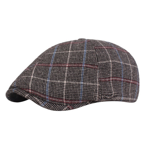 Men Cap Vintage Striped Lattice Beret