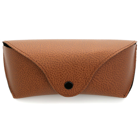 Faux Leather Snap Closure Glasses Case With Belt Holder (Brown)
