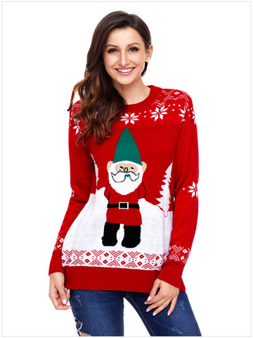 women's round neck Christmas knitted sweater Santa is arriving Xmas sweater