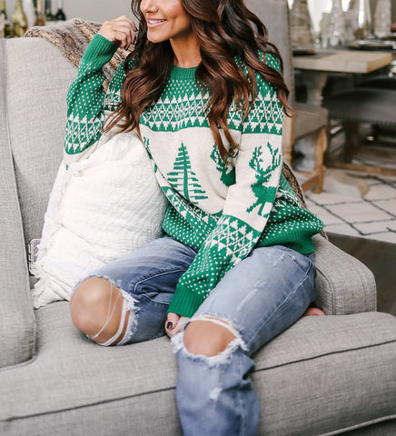 snowflake deer Christmas sweater knitted Xmas sweater