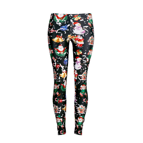 Women's Christmas Leggings Digital Print FOOTLESS Stretchy Tights 2018