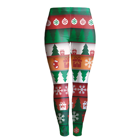 girl's printed Christmas leggings footless tights