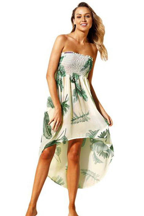 Leaf Print Convertible Beach Dress