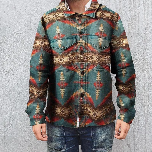 Casual Printed Lapel Long Sleeve Jacket