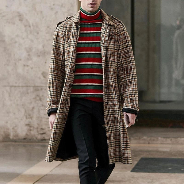 Fashion Plaid Single-Breasted Patch Pockets Overcoat