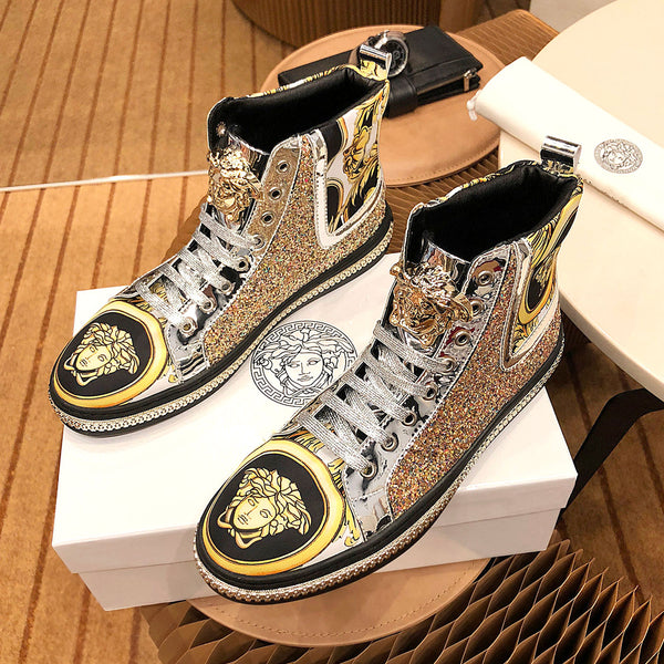 Hot stamping high-top fashion shoes