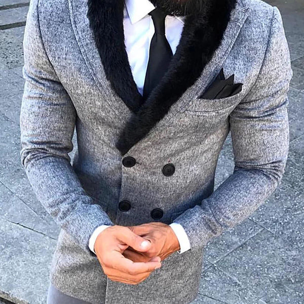Commuting Fur Collar Double-Breasted Suit Coat